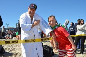 Bay Head/Mantoloking Local 347 member George Duffy has participated since the beginning of the Polar Bear Plunge in 1993 and keeps his robe updated with every year.