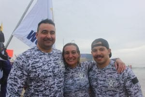 West Windsor Local 271 PBA President Melissa Nagy celebrated her 18th plunge at the 25th Polar Bear Plunge in 2018 while wearing camo gear with her team.